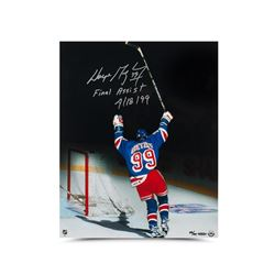 "Wayne Gretzky Signed Rangers LE 16x20 Photo Inscribed ""Final Assist 4/18/99"" (UDA COA)"