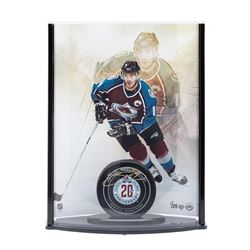 Joe Sakic Signed 20th Anniversary Avalanche Puck with Captain Photo Curve Display LE 25 (UDA COA)