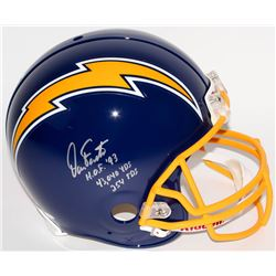 "Dan Fouts Signed Chargers Throwback Full-Size Authentic Pro-Line Helmet Inscribed ""H.O.F. '93"", ""43,"