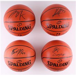 Lot of (4) Signed NBA Basketballs Including Jahlil Okafor, Frank Kaminsky, Nikola Mirotic (Schwartz
