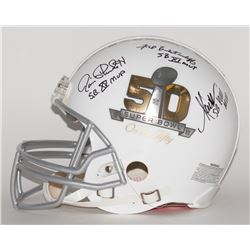 Marcus Allen, Fred Biletnikoff  Jim Plunkett Signed Super Bowl 50 Full-Size Authentic Pro-Line Helme