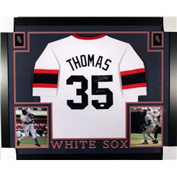 "Frank Thomas Signed White Sox 35x43 Custom Framed Jersey Inscribed ""HOF 2014"" (JSA COA)"