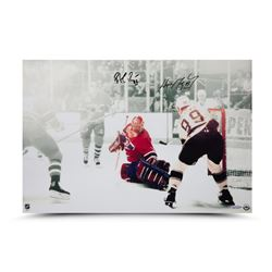 "Wayne Gretzky  Patrick Roy Signed ""1993 Stanley Cup Finals Game 4"" 24"" x 16"" Photo (UDA COA)"