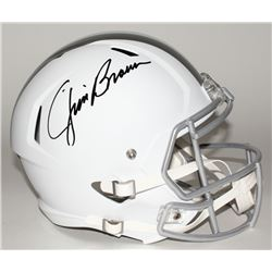 Jim Brown Signed Browns Custom Matte White Full-Size Speed Ice Helmet (Fanatics Hologram)