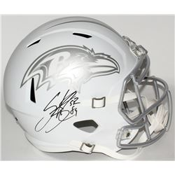 Steve Smith Sr. Signed Ravens Full-Size Custom Matte White ICE Speed Helmet (Smith COA)