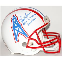 "Warren Moon Signed Oilers Throwback Full-Size Helmet Inscribed ""HOF 06"", ""9x Pro Bowl""  ""Run-N-Shoot"