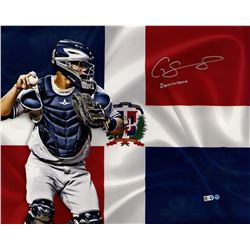 """Gary Sanchez Signed Dominican Flag 16x20 Photo Inscribed """"Dominicano"""" (Steiner COA  MLB)"""