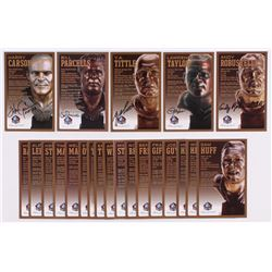 Lot of (22) Giants LE Bronze Bust Football Hall of Fame Postcards with (17) Unsigned Postcards,  (5)
