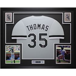 "Frank Thomas Signed White Sox 35"" x 43"" Custom Framed Jersey (Leaf COA)"