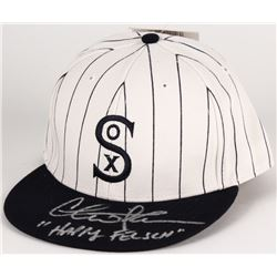 "Charlie Sheen Signed Cubs White Sox 1917 Throwback Baseball Hat Inscribed ""Happy Felsch"" (Steiner CO"