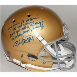 "Rudy Ruettiger Signed Full-Size Notre Dame Fighting Irish Helmet with ""Five Foot Nothin'"" Inscriptio"