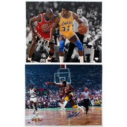 Lot of (2) Magic Johnson Signed Lakers 16x20 Photos (JSA COA  FSC COA)