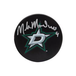 Mike Modano Signed Stars Logo Hockey Puck (UDA COA)
