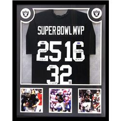 "Marcus Allen, Jim Plunkett  Fred Biletnikoff Signed Raiders 34x42 Custom Framed Jersey Inscribed ""Su"