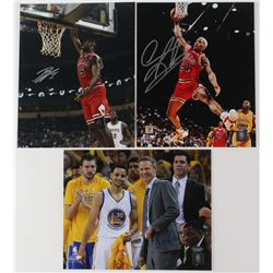 Lot of (3) Signed 8x10 Basketball Photos with (1) Dennis Rodman Bulls, (1) Steve Kerr Golden State W