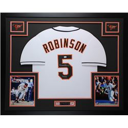 Brooks Robinson Signed Orioles 35  x 43  Custom Framed Jersey Inscribed  HOF 83  (JSA COA)