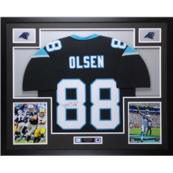 "Greg Olsen Signed Panthers 35"" x 43"" Custom Framed Jersey (JSA COA)"