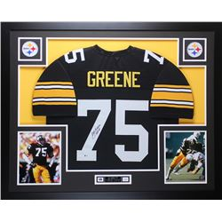 "Joe Greene Signed Steelers 35"" x 43"" Custom Framed Jersey Inscribed ""HOF 87"" (Beckett COA)"