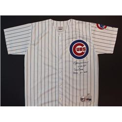 Andre Dawson  Ernie Banks Signed Cubs Jersey With (2) MVP Inscriptions (JSA COA)