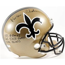 "Morten Anderson Signed Saints Full-Size Helmet Inscribed ""382 Games"", ""565 Field Goals""  ""2544 Point"