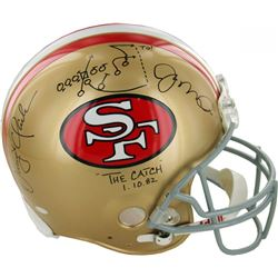 "Joe Montana  Dwight Clark Signed 49ers ""The Play"" Full-Size Authentic On-Field Helmet with Inscripti"