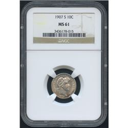 1907-S 10¢ Barber Dime (NGC MS 61)