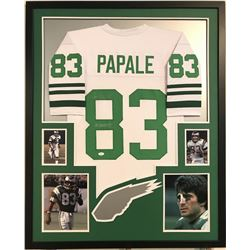 "Vince Papale Signed Eagles 34"" x 42"" Custom Framed Jersey Inscribed ""Invincible"" (JSA COA)"