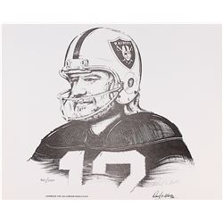"Ken Stabler Raiders Limited Edition 17"" x 14"" Lithograph Signed by Artist Daniel E. Wooten #/1150 (S"