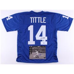 """Lot of (2) Y.A. Tittle Signed Giants Items with (1) 8x10 Photo  (1) Jersey Inscribed """"HOF 71"""" (Schwa"""