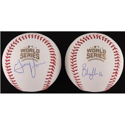 Lot of (2) Signed Official 2016 World Series Baseballs with (1) Brandon Hyde  (1) Gary Jones (Schwar