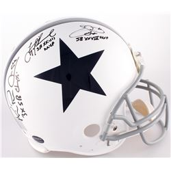 Michael Irvin, Emmitt Smith  Troy Aikman Signed Cowboys Full-Size Authentic Throwback On-Field Helme