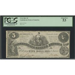 1861 $5 Five Dollars Confederate States of America Richmond CSA Bank Note Bill (T-36) (PCGS 53)