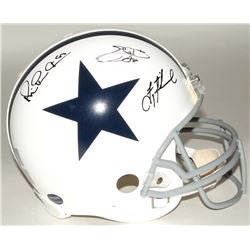 Michael Irvin, Emmitt Smith  Troy Aikman Signed Cowboys Throwback Full-Size Authentic On-Field Helme