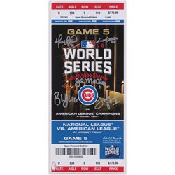 2016 Cubs World Series Game 5 6x14 Mini-Mega Ticket Coaching Staff Signed by (5) with John Mallee, L