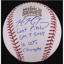 "Mike Montgomery Signed LE Official 2016 World Series Baseball Inscribed ""GM 7 Save"" (Schwartz COA)"