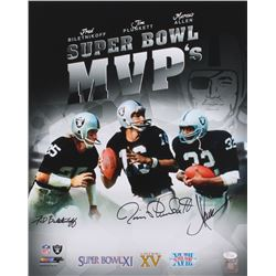 Marcus Allen, Jim Plunkett  Fred Biletnikoff Signed Raiders 16x20 Photo (JSA COA)