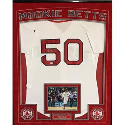Mookie Betts Signed Red Sox 36x42 Custom Framed Authentic Home Jersey Display (PSA COA)
