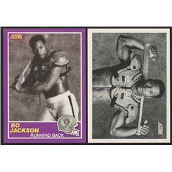 Lot of (2) Bo Jackson Trading Cards with 1989 Score Supplemental #384S  1990 Score #697 FB/BB