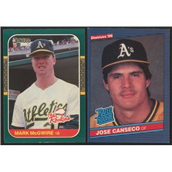 Lot of (2) Rookie Baseball Cards wtih 1986 Donruss #39 Jose Canseco RC  1987 Donruss Rookies #1 Mark