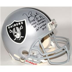 Tim Brown Signed Raiders Full-Size Authentic On-Field Helmet with (4) Career Stat Inscriptions (Brow