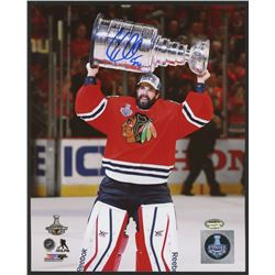 Corey Crawford Signed Blackhawks 2015 Stanley Cup Celebration 8x10 Photo (Schwartz COA)