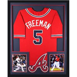 "Freddie Freeman Signed Braves 34"" x 42"" Custom Framed Jersey (Radtke COA)"