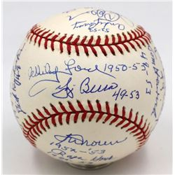New York Yankees 1949-1953 OAL Baseball Signed by (18) with Yogi Berra, Whitey Ford, Ralph Houk, Gil