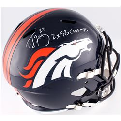 "Ed McCaffrey Signed Broncos Full-Size Speed Helmet Inscribed ""2x SB Champs"" (JSA COA)"