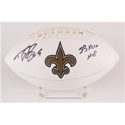 "Drew Brees Signed Saints Logo Football Inscribed ""SB XLIV MVP"" (Brees Hologram  Radtke COA)"