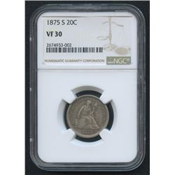 1875-S 20¢ Seated Liberty 20 Cent Coin (NGC VF 30)