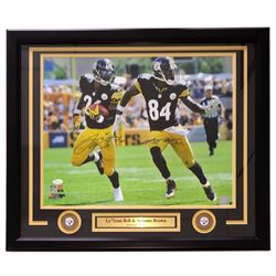 Antonio Brown  Le'Veon Bell Signed Steelers 22x27 Custom Framed Photo Display (JSA COA)