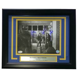 "David Hanson, Steve Carlson, and Jeff Carlson Signed ""Slap Shot"" 11x14 Custom Framed Photo Display ("