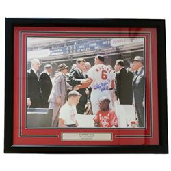 "Stan Musial Signed Cardinals 22x27 Custom Framed Photo Display Inscribed ""HOF 69"" (Musial Hologram)"