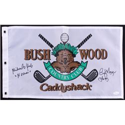 "Michael O'Keefe  Cindy Morgan Signed ""Bush Wood Country Club"" Caddyshack Golf Pin Flag Inscribed ""No"
